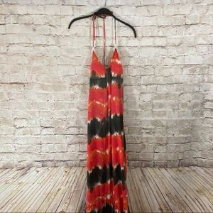 6 degrees tie dye halter strap maxi dress small